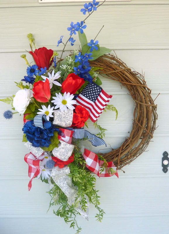 Summer Patriotic Wreath - Summer wreath - Front door decor - 4th of July Wreath - Red, White and Blue wreaths