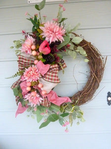 Dusty pink Summer wreath - Spring Wreaths - French Country decor