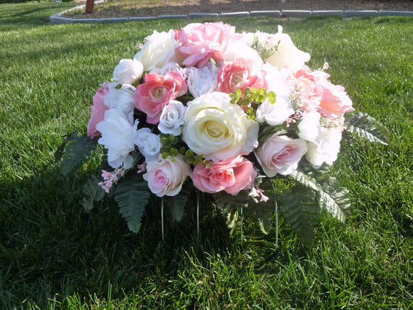 Pink and White cemetery flowers - memorial spray - Grave-site flowers - Headstone spray