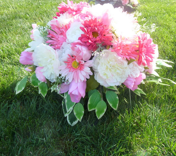 Cemetery spray - memorial spray - Grave-site flowers - Headstone spray - Pink and White spray