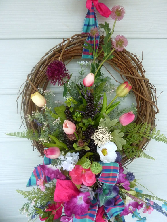 Summer Tulip wreath - Summer wreath - Spring Wreaths - French Country decor
