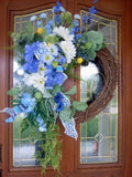 Blue and White Farmhouse wreaths - Spring wreath - Summer wreath - front door wreath