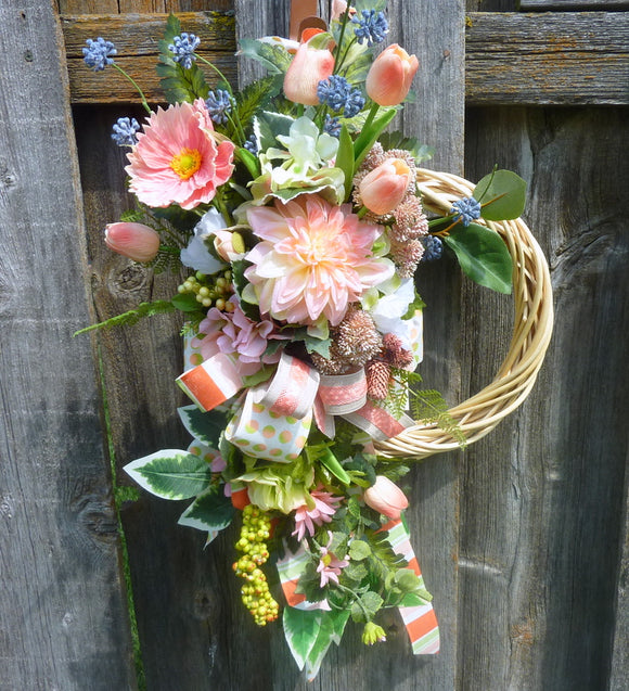 Front door wreath - Summer wreath - Spring Wreaths - Peach wreath - French Country decor