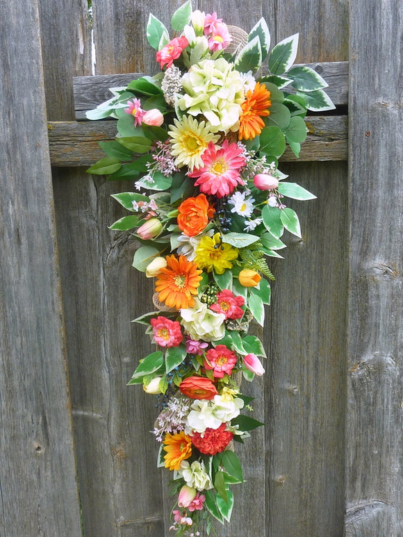 Extra Long Summer door swag - Spring wreath - Door swag - Front door decorations
