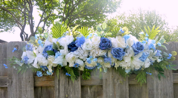 Blue and white Wedding arch, Wedding swag, Wedding Arch Decorations, Wedding decorations, Wedding flowers, Roses and Lilies