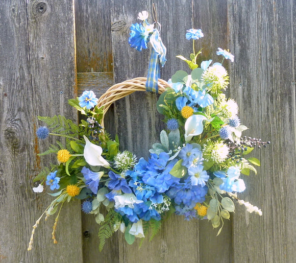 Blue Front door wreath - Summer wreath - Spring Wreaths - French Country decor