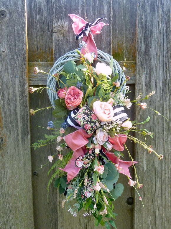 Rose Summer wreath - Spring Wreaths - French Country decor