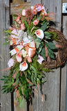 Coral Front door wreath - Summer wreath - Spring Wreaths - French Country decor