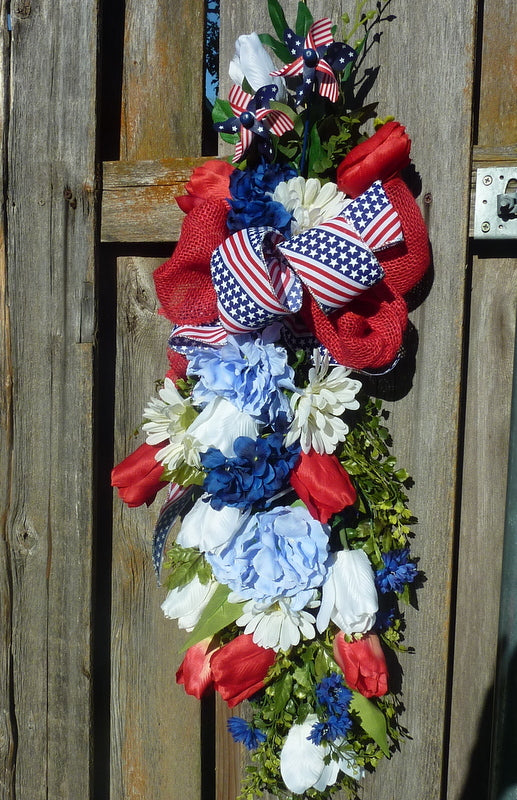 Patriotic door swag - 4th of July door swag - Summer door decoration