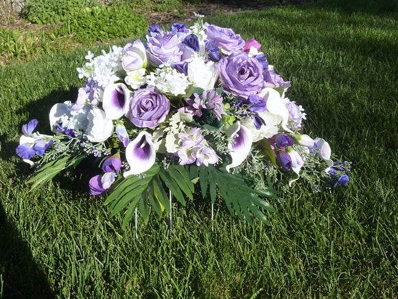 Headstone spray - Cemetery flowers - Grave site spray - memorial flowers - headstone saddle