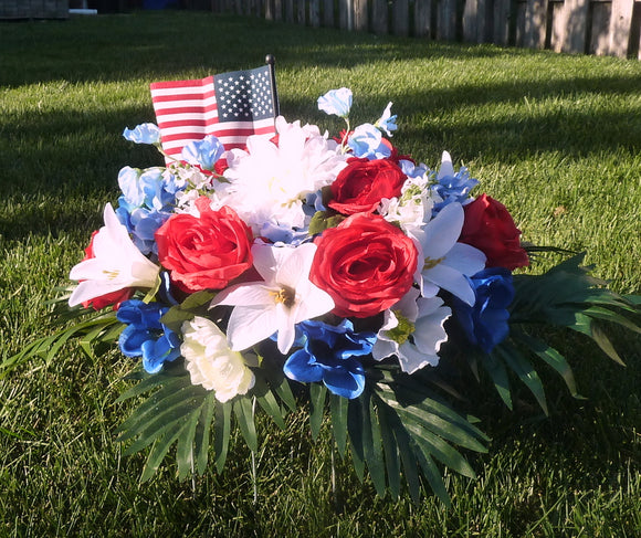Red White and Blue Cemetery flowers - Headstone spray - Memorial flowers