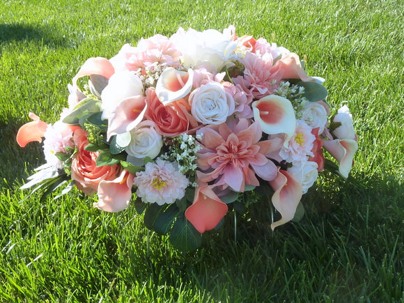 Coral and White cemetery flowers - memorial spray - Grave-site flowers - Headstone spray
