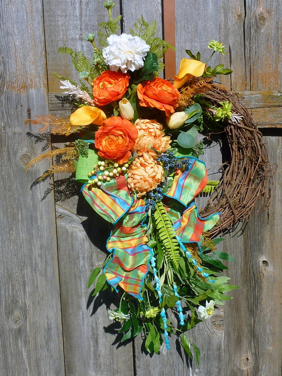 Summer Front door wreath - Summer wreath - Spring Wreaths - French Country decor