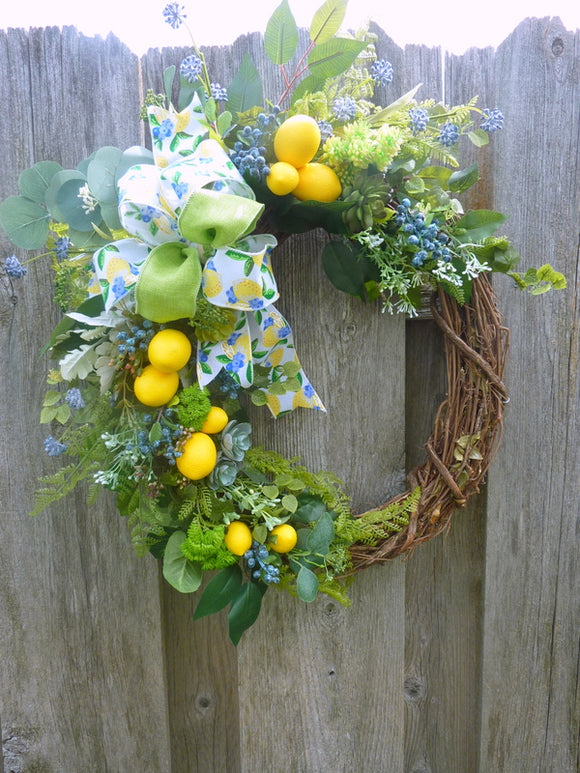 Lemon and Succulent wreath - lemon & Blueberry Wreath - Farmhouse decor