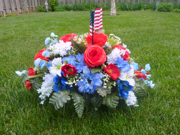 Military Headstone Spray - Red White and Blue Cemetery flowers - Headstone spray - Memorial flowers
