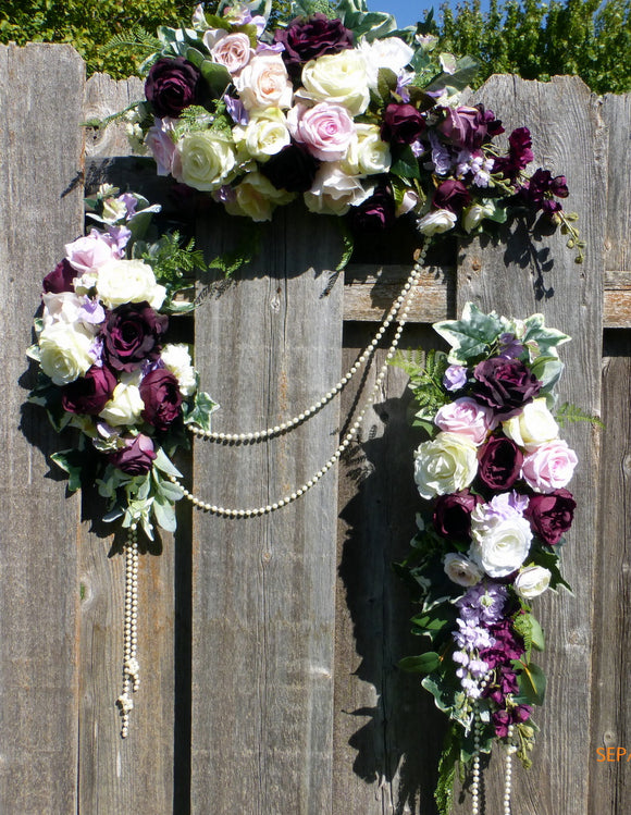 Wedding Arch Flowers - Plum Wedding Arbor Decorations - Wedding decorations