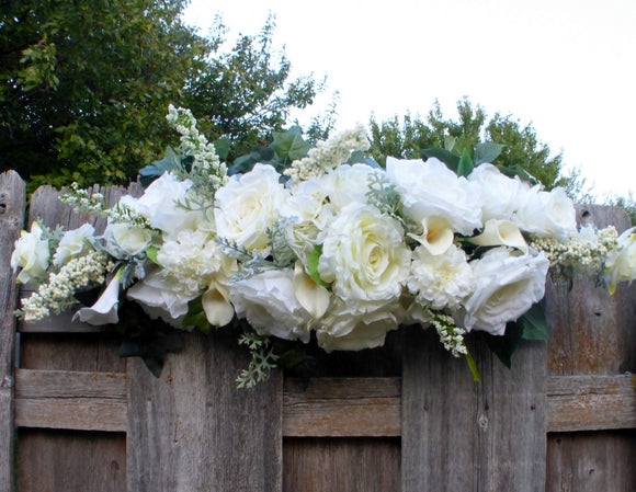 White wedding arch flowers - White Rose Wedding Flowers - Wedding Arbor Decorations