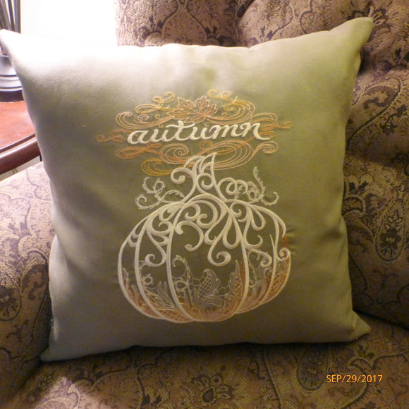Autumn Pillow Cover - Embroidered pumpkin - Suede pillow cover - Fall pillows - Julie Butler Creations