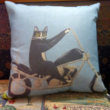 Motorcycle pillow cover - cat on choppers pillow cover - pet pillows - cat pillow covers - Julie Butler Creations