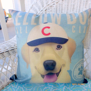 Yellow Dog Baseball pillow cover - yellow lab pillows - baseball pillow cover - boys room decor - Julie Butler Creations