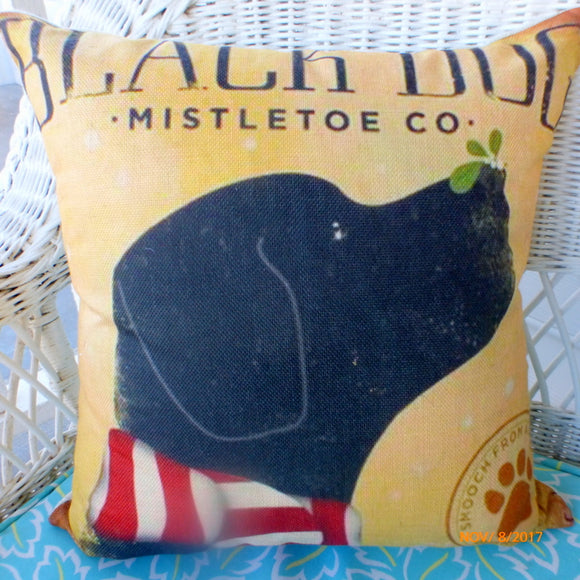 Black Lab Pillow covers - Dog Pillow covers - Black Dog Mistletoe - Julie Butler Creations
