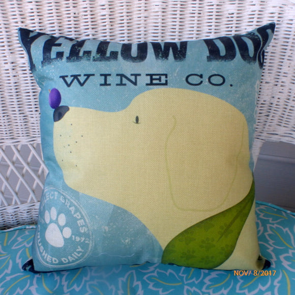 Yellow Dog pillow cover - yellow lab pillows - pillow covers