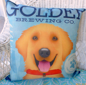 Golden Retriever pillow cover - dog pillows - pet pillows - Julie Butler Creations
