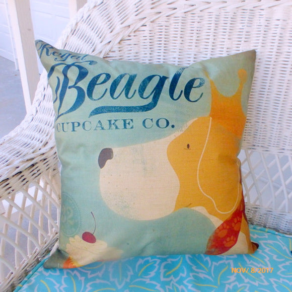 Beagle pillow cover - Regal Beagle Cupcake Co. - dog breed pillow covers - boys room decor - Julie Butler Creations