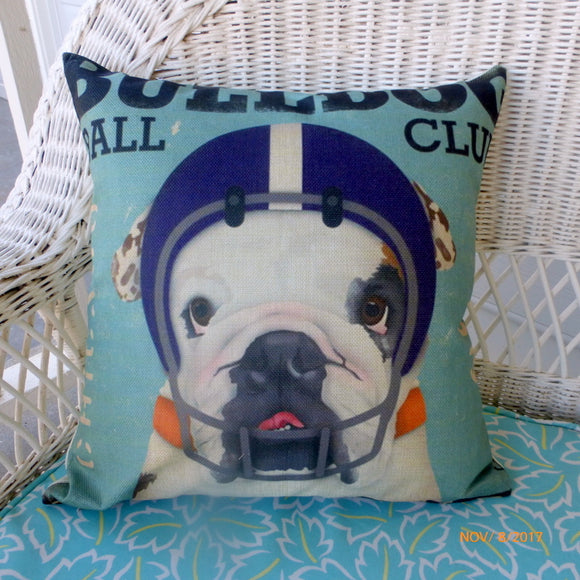 Bulldog Football pillow cover - Football pillows - dog pillows - pillow covers - decorative pillows - Julie Butler Creations