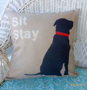 Black Lab Pillow Cover - Dog Pillow cover - animal pillows - gift for him - Julie Butler Creations