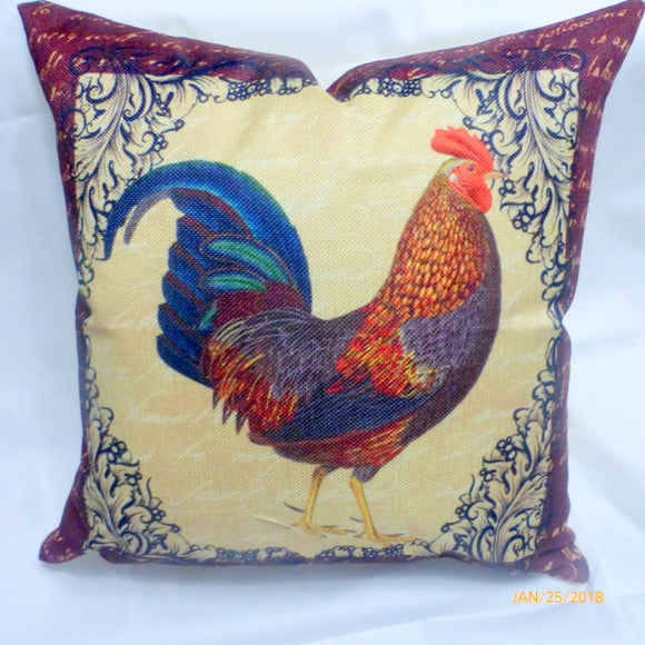 pillow covers -  Rooster pillow covers - French Country Decor - French Rooster pillows - Julie Butler Creations