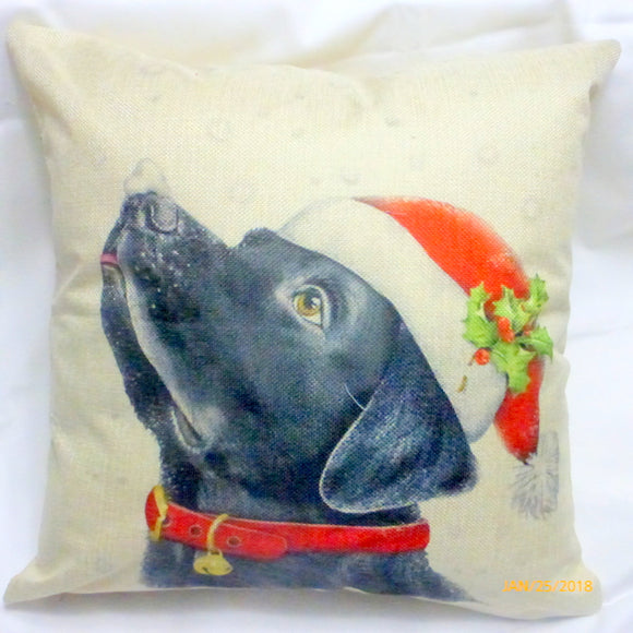 Christmas Pillow covers- Christmas decorations - dog pillow covers - Black Lab pillow