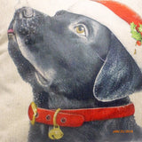 Christmas Pillow covers- Christmas decorations - dog pillow covers - Black Lab pillow - Julie Butler Creations