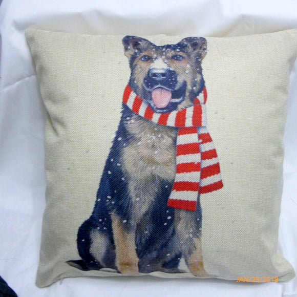 German Sheppard Christmas Pillow cover Family room pillow covers - boys room decor
