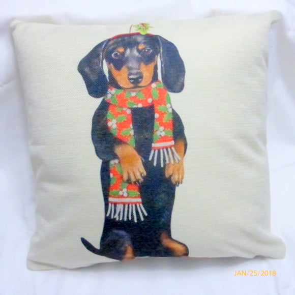 Dachshund Christmas Pillow cover - Dog Breed Christmas decorations - dog pillow covers