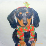 Dachshund Christmas Pillow cover - Dog Breed Christmas decorations - dog pillow covers - Julie Butler Creations