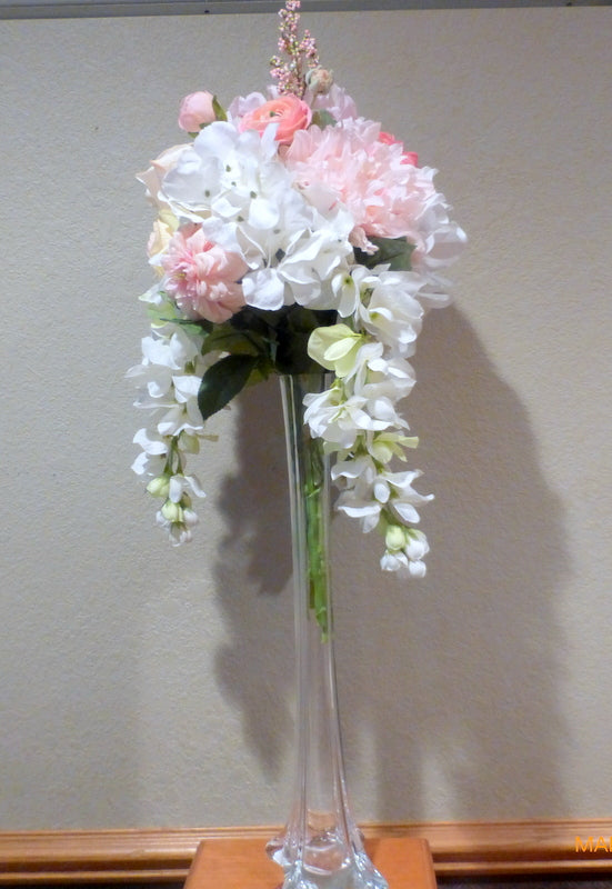 Pink and white tall centerpiece - floral arrangement - Cascading Centerpiece - wedding flowers - Julie Butler Creations