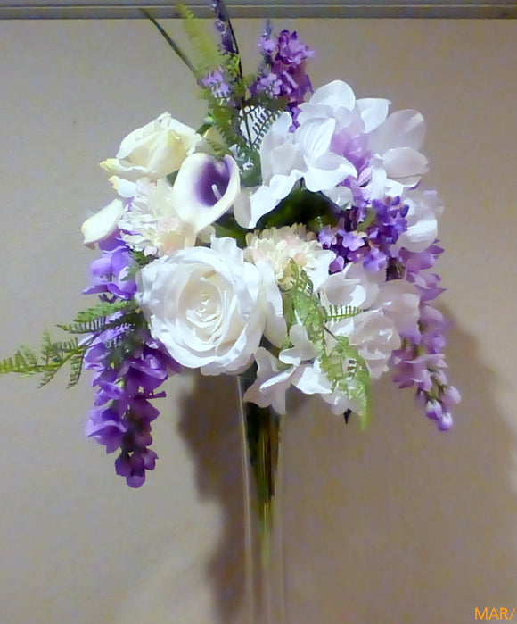Tall Wedding centerpiece - floral arrangement -Cascading Centerpiece - wedding flowers