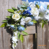 Blue and white Wedding arch swag - Wedding swag - Wedding Arch Decorations - floral table runner - Julie Butler Creations