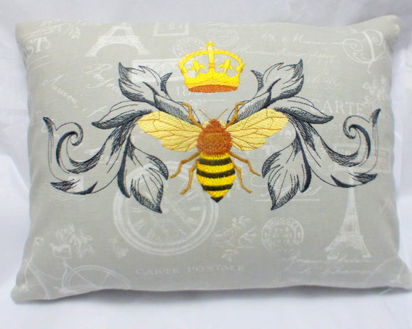Queen Bee Pillow cover - Premier Prints French Stamp - Queen Bee - Embroidered pillow cover - Julie Butler Creations
