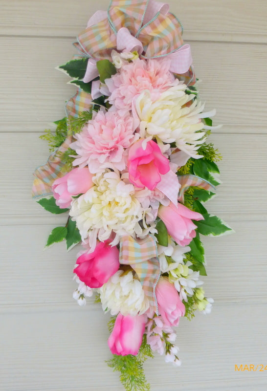 Pink and white tulip door swag -Spring door swag - door swag - floral wreaths- Home decor - Julie Butler Creations