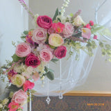 Wedding Arbor Flowers - Arch Corner Swags - rose Arbor swag - Pink, white, Hot pink