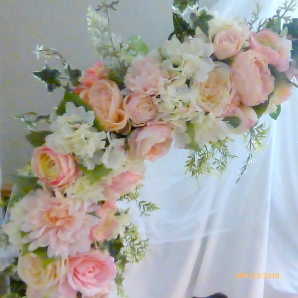 Wedding Arbor Flowers - Arch Corner Swags - Pink, white, Rose arbor- Wedding decorations
