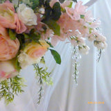 Wedding Arbor Flowers - Arch Corner Swags - Pink, white, Rose arbor- Wedding decorations - Julie Butler Creations