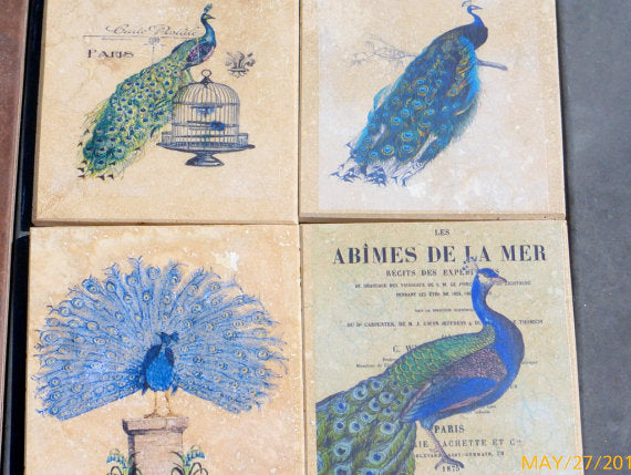 Peacock coasters - Stone Coasters - Travertine Tile Coasters - Vintage Advertising