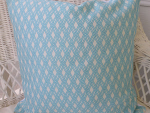Pillow Cover - Decorative throw pillow cover - Robert Allen Basket form - Bright Aqua - Julie Butler Creations