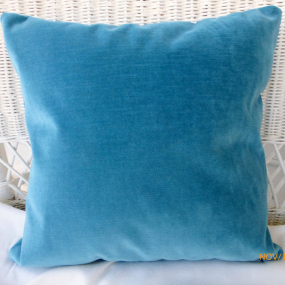 Blue Velvet pillow cover - velvet pillow - Robert Allen Contentment upholstery Fabric - Julie Butler Creations