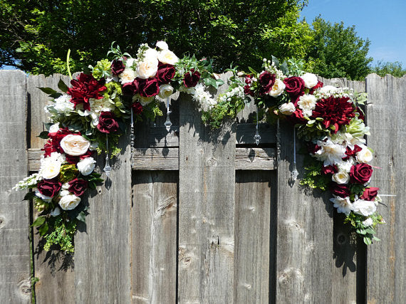 Wedding Arch Corner swags - Burgundy & Ivory flower swag - set of 2 corner swags