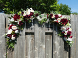 Wedding Arch Corner swags - Burgundy & Ivory with Succulents - set of 2 corner swags