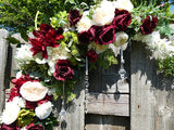 Wedding Arch Corner swags - Burgundy & Ivory flower swag - set of 2 corner swags - Julie Butler Creations